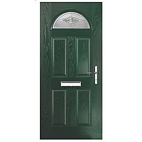 Portico Turnberry Single Light Composite Front Door Green LH 880 x 2055mm