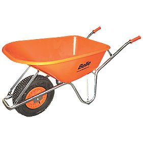 Belle Group Warrior Large Wheel HDPE Wheelbarrow Silver/Orange 100Ltr