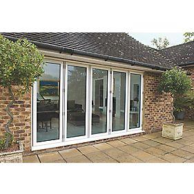Unbranded Bi-Fold Double-Glazed Patio Door White Aluminium 3939 x 2094mm