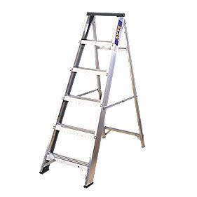 Lyte BSBB6 Swingback Builders Step Ladder Aluminium 6-Tread 1.26m
