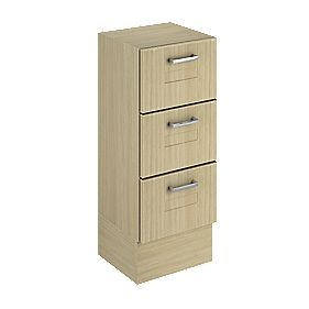 Bathroom Base Unit 3-Drawer Oak Shaker 300mm