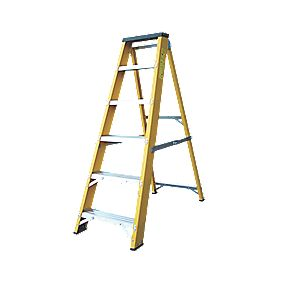 Lyte GFBB6 Swingback Builders Step Ladder Fibreglass 6-Tread 1.26m