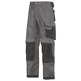 "Snickers DuraTwill Trousers Grey/Black 35"" W 32"" L"