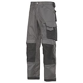 "Snickers DuraTwill Trousers Grey/Black 36"" W 32"" L"