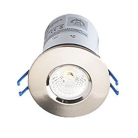 Robus Fire Rated Fixed LED Downlight IP44 Brushed Chrome 9W