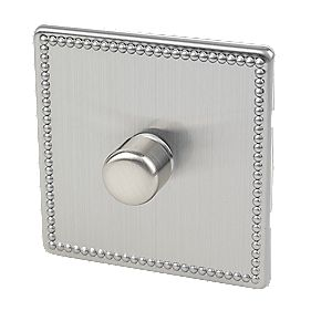 Varilight 1-Gang 2-Way 400W Push Dimmer Beaded Steel