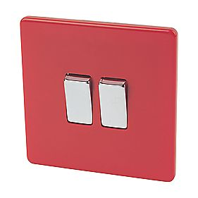 Varilight 2-Gang 2-Way 10A Switch Claret Red