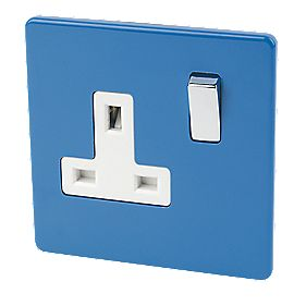 Varilight 1-Gang 13A DP Switched Socket Cobalt Blue