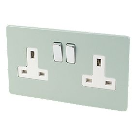 Varilight 2-Gang 13A DP Switched Socket Sage Green