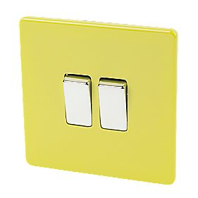 Varilight 2-Gang 2-Way 10A Switch Lime Green