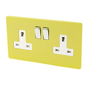 Varilight 2-Gang 13A DP Switched Socket Lime Green