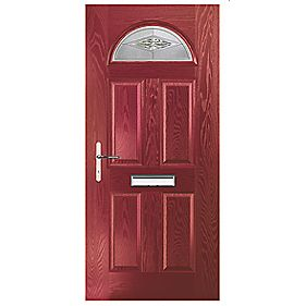 Portico Turnberry Single Light Composite Front Door Red RH 880 x 2055mm
