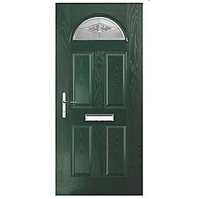 Portico Turnberry Single Light Composite Front Door Green RH 880 x 2055mm