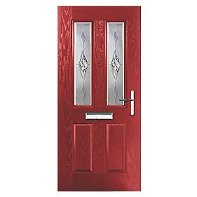 Portico Carnoustie 2-Light Composite Front Door Red LH 880 x 2055mm