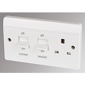 MK 2-Gang 45A DP Cooker Switch with 13A Switched Plug Socket White