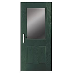 Portico Lytham Composite Front Door Clear Glass Green RH 840 x 2055mm