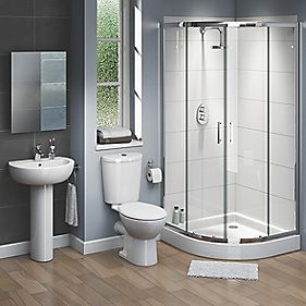 Ashley Modern Bathroom Suite with 900mm Quadrant Shower Enclosure