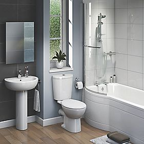 Ashley Modern Bathroom Suite with Left Hand Acrylic Bath