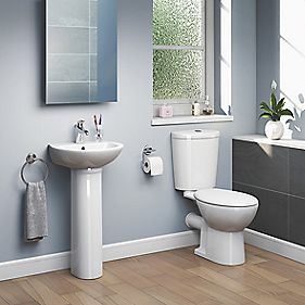 Ashley Cloakroom Suite 1 Tap Hole Full Pedestal Basin & 5Ltr CC Toilet
