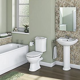 Chester Traditional Single Ended Bathroom Suite with Steel Bath
