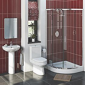 Walker Modern Bathroom Suite with 900mm Quadrant Shower Enclosure