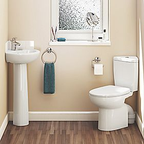 Spacesaver Cloakroom Suite 1 Tap Hole Full Pedestal Basin & 6Ltr CC Toilet