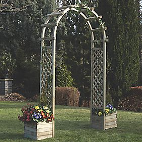 Rowlinson Garden Products Arch with Planters 1.96 x 0.5 x 2.5m
