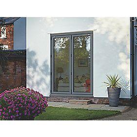 Bi-Fold Double-Glazed Patio Door Grey Aluminium 1794 x 2094mm