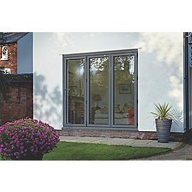 Spaceslide Bi-Fold Double-Glazed Patio Door LH Grey 2394 x 2094mm