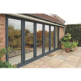Bi-Fold Double-Glazed Patio Door Grey Aluminium 4755 x 2094mm