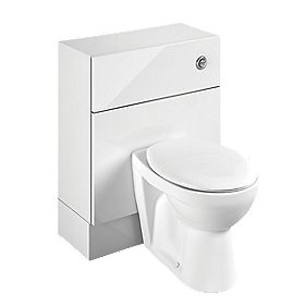 Bathroom WC Unit Inc Toilet & Cistern White Slab 600 x 300 x 810mm