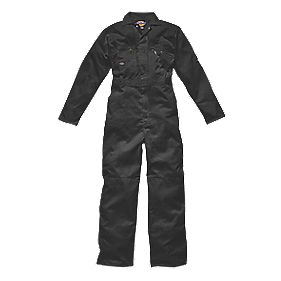 "Dickies Zip Front Coverall Black 48"" Chest 30"" L"