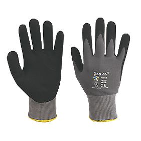 Skytec Aria Nitrile Coated Nylon Spandex Gloves Grey / Black Large