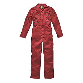 "Dickies Redhawk Zip Front Coverall Red Medium 42"" Chest 30"" L"