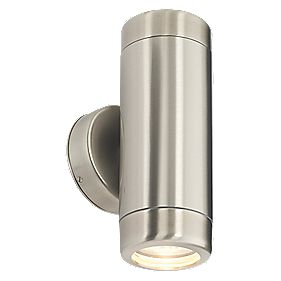 Masterlite Barracuda Twin Wall Light Brushed Stainless Steel 35W