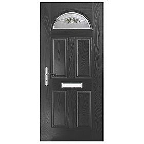 Portico Turnberry Single Light Composite Front Door Black RH 920 x 2055mm