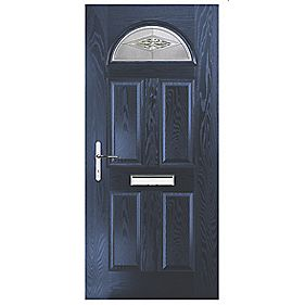Portico Turnberry Single Light Composite Front Door Blue RH 920 x 2055mm