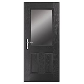 Portico Lytham Composite Front Door Clear Glass Black RH 840 x 2055mm