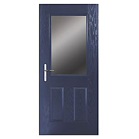 Portico Lytham Composite Front Door Clear Glass Blue RH 840 x 2055mm