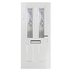 Portico Carnoustie 2-Light Composite Front Door White LH 920 x 2055mm