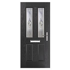 Portico Carnoustie 2-Light Composite Front Door Black LH 920 x 2055mm