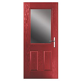 Portico Lytham Composite Front Door Clear Glass Red LH 840 x 2055mm