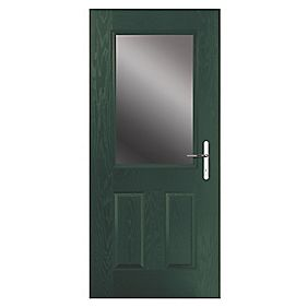 Portico Lytham Composite Front Door Clear Glass Green LH 840 x 2055mm