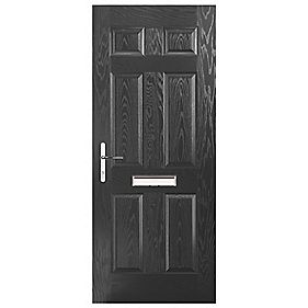 Portico Birkdale Composite Front Door Black RH 880 x 2055mm