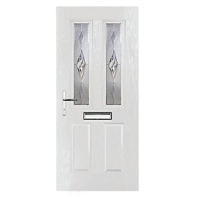 Portico Carnoustie 2-Light Composite Front Door White RH 880 x 2055mm