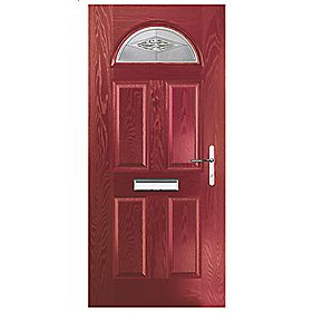 Portico Turnberry Single Light Composite Front Door Red LH 880 x 2055mm