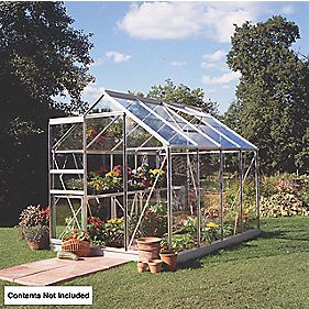 Halls Popular Framed Greenhouse Aluminium 6 x 8 x