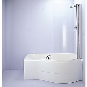 Ideal Standard Curved Bath Screen Frameless Chrome / Clear 100 x 715mm