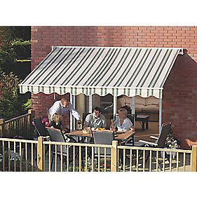 Greenhurst Patio Awning Green / Beige Striped 3 x 2m