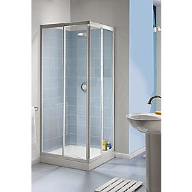 Aqualux Square Slider Door Shower Enclosure Silver Effect 760mm